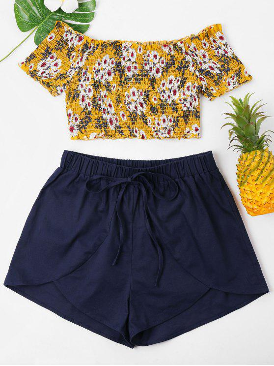 Blumen Smocked Crop Top Und Shorts Set - Goldgelb XL