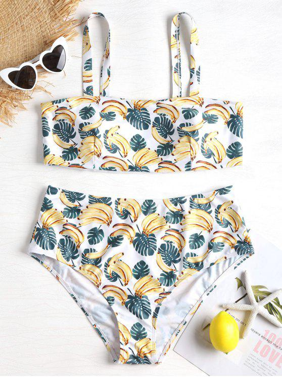 Bikini en Ensemble Imprimé de Feuilles de Bananier - Blanc 4X