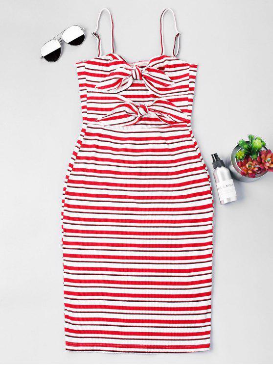 Streifen Knoten Slip Fitted Kleid - Liebes Rot M