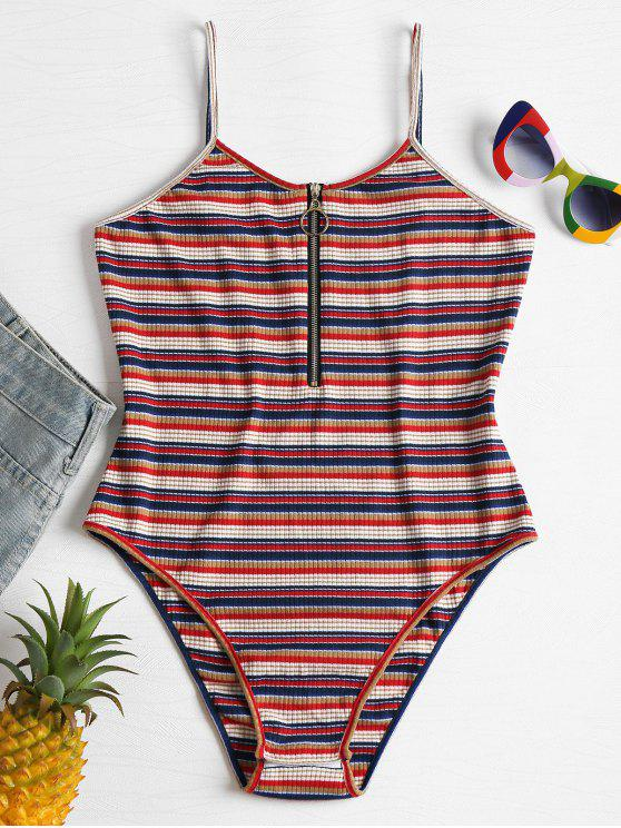 trendy Stripes Front Zip Slip Bodysuit - MULTI L