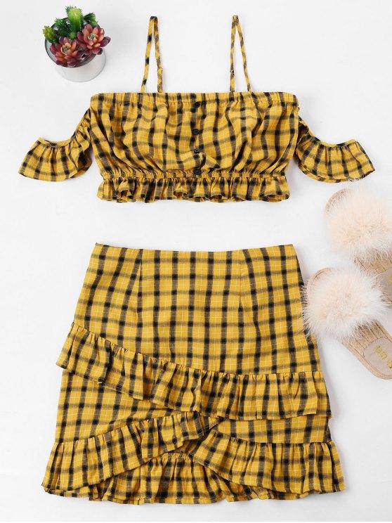 منقوشة الباردة الكتف الكشكشة قطعتين اللباس - الذهب البرتقالي XL