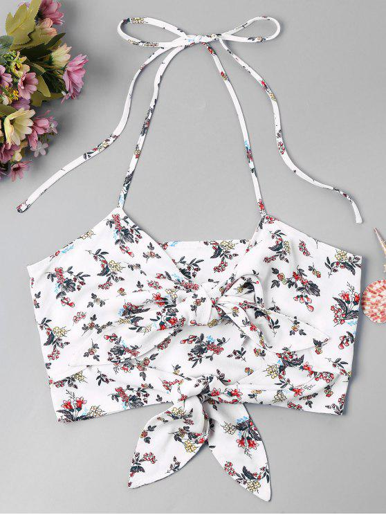 women Knot Floral Halter Cami Top - WHITE XL