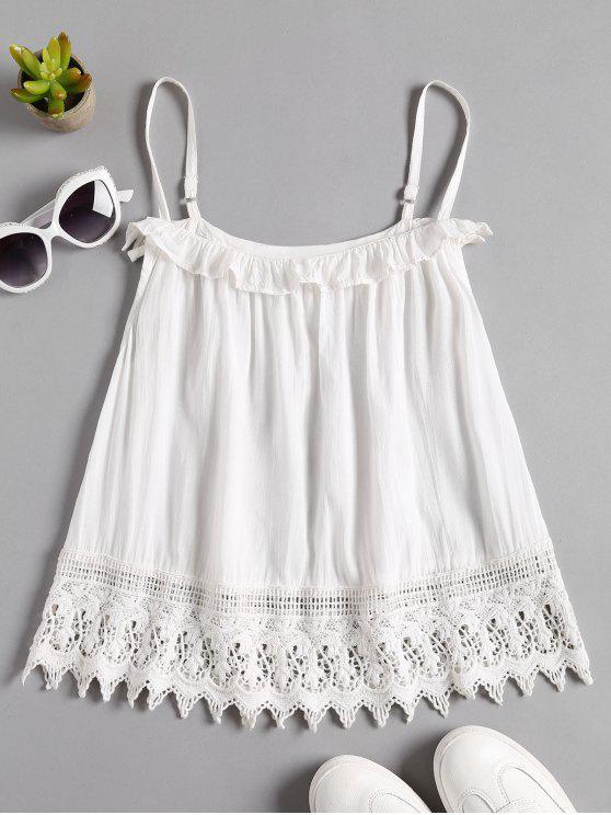 Crochet Lace Trim Cami Top - Blanco L