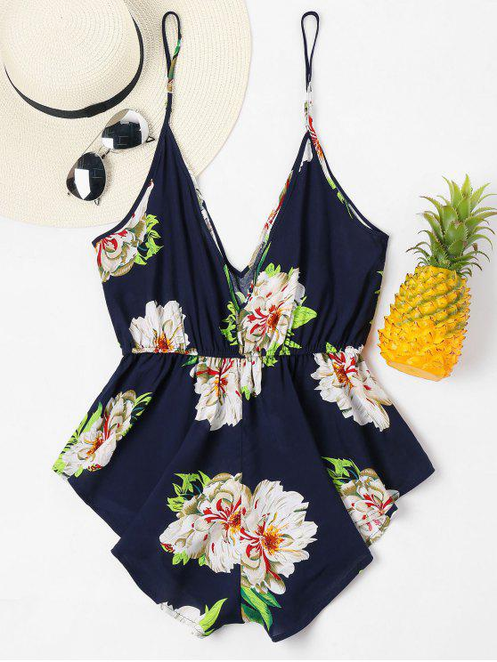 trendy Hawaiian Floral Slip Romper - MIDNIGHT BLUE XL