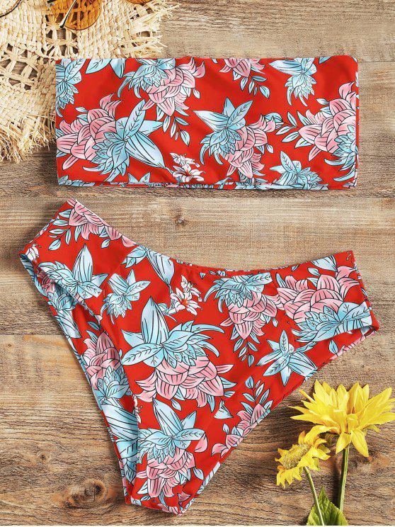 fancy High Cut Floral Bandeau Bikini Set - RED M
