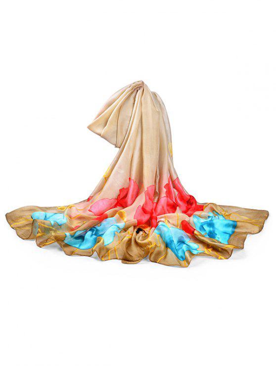 Sciarpa Lunga In Seta Con Motivo Floreale - Marrone Cammello