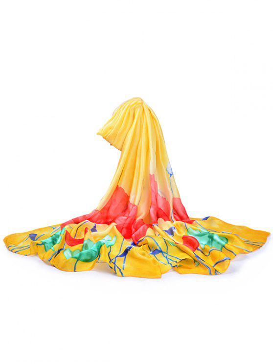 Flores em plena floração lenço de seda xaile - Amarelo