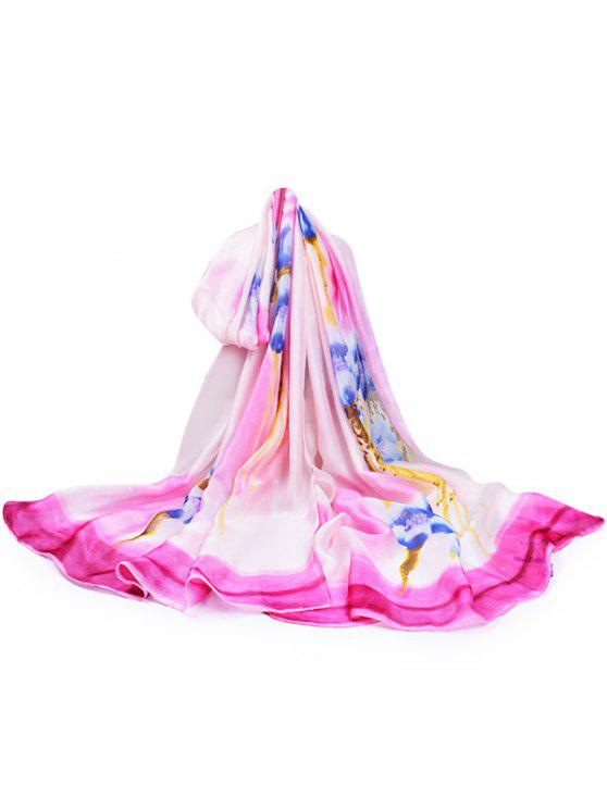 Flourishing Kapok Decorativa Silky Lenço Longo - Rosa Quente