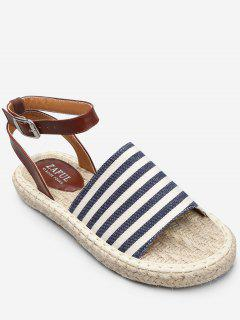 Casual Vacation Espadrille Striped Sandals - Sky Blue 38