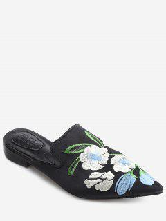 Color Block Floral Embroidery Pointed Toe Mules Shoes - Black 35