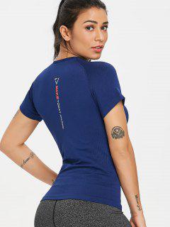 Seamless Moisture Wicking Gym T Shirt - Deep Blue S