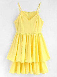 Lettuce Edge Layered Skater Cocktail Dress - Yellow M