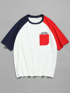 Color Block Raglan Sleeves Camiseta - Rojo 2xl