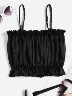 Shimmer Frilled Crop Cami Top - Black S