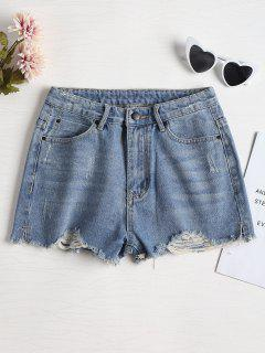 Cutoffs Distressed Denim Shorts - Denim Blue 28
