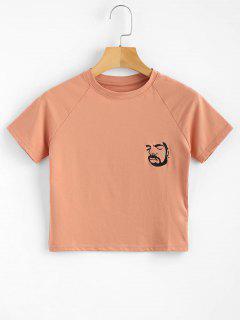Raglan Sleeve Embroidered Tee - Dark Salmon S