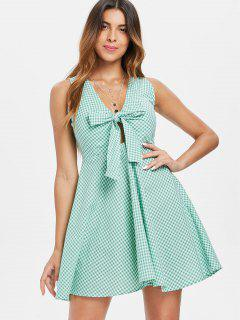 Tie Front Gingham Mini Dress - Blue Green S
