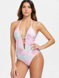 Tie Dye Backless Plunge Swimsuit - Light Pink L