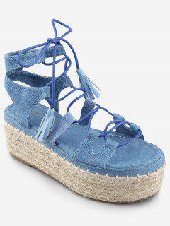 Tassels Ankle Strap Crisscross Platform Heel Sandals - Denim Blue 37