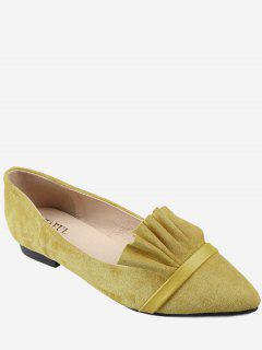 Casual Pointed Toe Ruffles Flats - Yellow 38