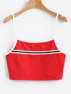 Streifen Panel Cami Tank Top - Liebes Rot L