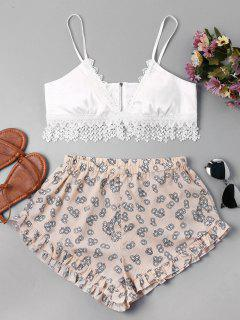 Zip Applique Top And Print Shorts Set - White L
