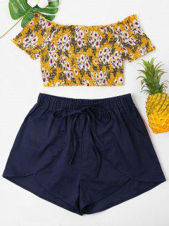 Floral Smocked Crop Top And Shorts Set - Golden Brown M