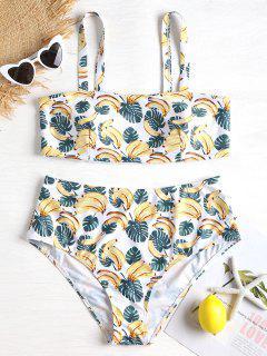 Banana Leaf Plus Size Bikini Set - White 1x
