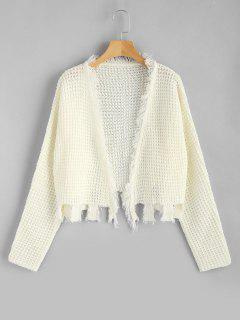 Open Front Fringed Ripped Cardigan - White