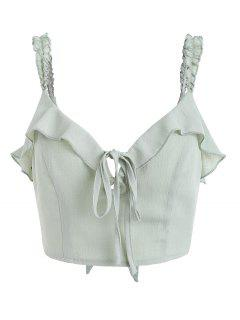 Ruffles Knotted Tank Top - Frog Green S