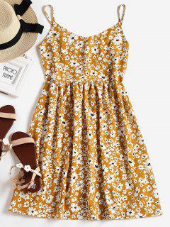 Flower Print A Line Cami Dress - Golden Brown L