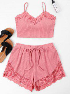 Lace Trim Cami Top And Shorts Set - Flamingo Pink L