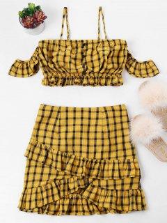 Plaid Cold Shoulder Ruffle Two Piece Dress - Orange Gold M