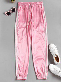 Pantalon Taille Haute Avec Motif De Rayures  - Rose Cochon M