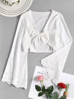 Knoted Bluse Mit Aufflackernärmeln - Weiß L