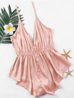 Low Cut Satin Romper - Pink Xl
