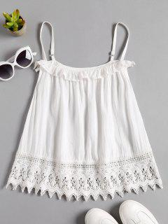 Crochet Lace Trim Cami Top - White L