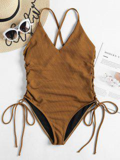 Lace-up Cross High Cut Swimsuit - Brown Xl