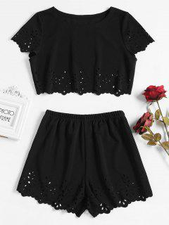 Laser Cut Shorts Set - Black S