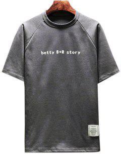 Back Figure Print T-shirt - Dark Gray 3xl