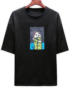 Cartoon Cool Boy Print T-shirt - Black 4xl