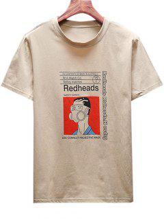 Camiseta De Hombre Con Estampado De Máscara De Gasa De Dibujos Animados - Caqui Claro Xl