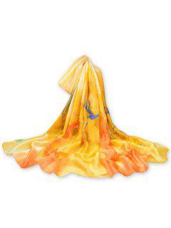 Bufanda Larga Decorativa Floral Coloreada De La Vendimia - Amarillo De Sol