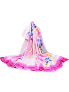 Flourishing Kapok Decorative Silky Long Scarf - Hot Pink