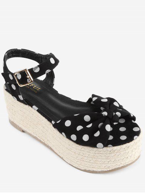 fancy Bowknot Polka Dot Espadrille Platform Sandals - BLACK 38 Mobile
