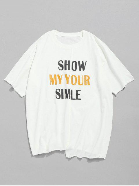 Letra Print Unfinished Edge T-shirt - Blanco 2XL Mobile