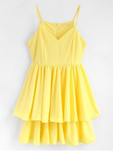 online Lettuce Edge Layered Skater Cocktail Dress - YELLOW XL Mobile