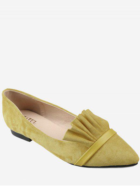trendy Casual Pointed Toe Ruffles Flats - YELLOW 36 Mobile