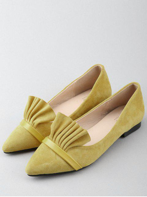 chic Casual Pointed Toe Ruffles Flats - YELLOW 38 Mobile