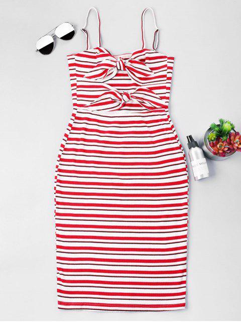 Streifen Knoten Slip Fitted Kleid - Liebes Rot S Mobile